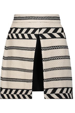 ALICE + OLIVIA Daysi layered woven cotton-blend mini skirt