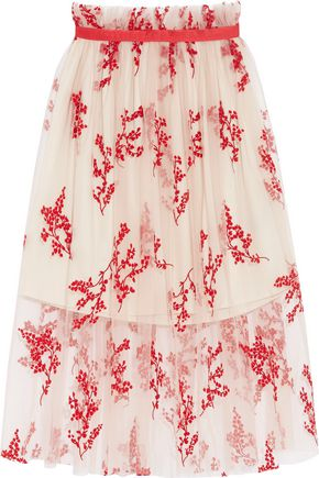 MOTHER OF PEARL Bounty gathered flocked tulle midi dress