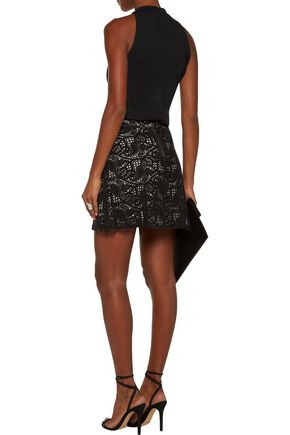 HAUTE HIPPIE Paisley laser-cut suede mini skirt