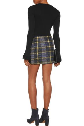 10 CROSBY DEREK LAM Wrap-effect checked bouclé mini skirt