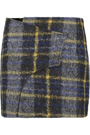 DEREK LAM 10 CROSBY Wrap-effect checked bouclé mini skirt
