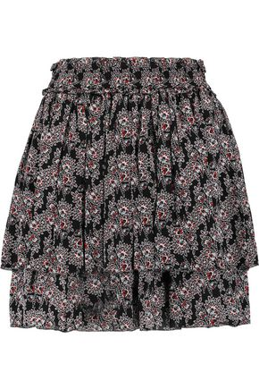 DEREK LAM 10 CROSBY Tiered pleated printed silk mini skirt