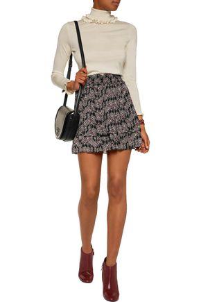 10 CROSBY DEREK LAM Tiered pleated printed silk mini skirt