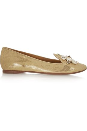 TORY BURCH Blaise embellished metallic leather slippers ...