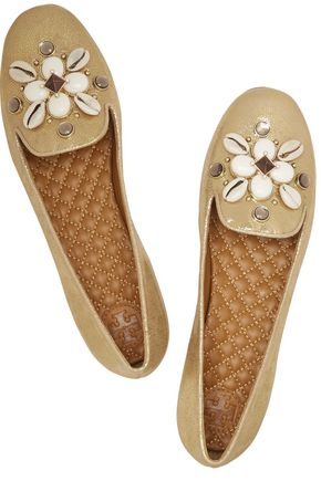 TORY BURCH Blaise embellished metallic leather slippers
