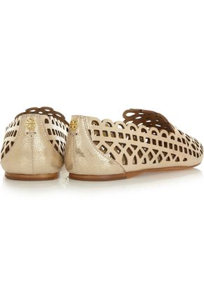 TORY BURCH Fiona cutout textured-leather slippers