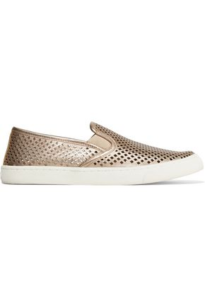 TORY BURCH Jesse perforated metallic leather slip-on sneakers