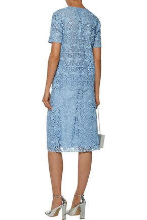 NINA RICCI Cotton-blend guipure lace skirt