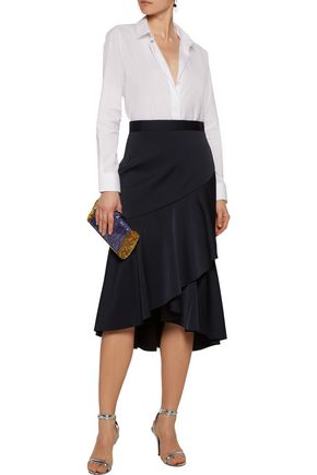 REBECCA VALLANCE Ruffle-trimmed hammered-satin midi skirt