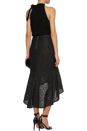 REBECCA VALLANCE Asymmetric ruffled corded lace midi skirt