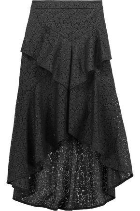 REBECCA VALLANCE Asymmetric ruffled corded lace midi skirt