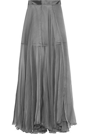 AMANDA WAKELEY Metallic silk-chiffon maxi skirt