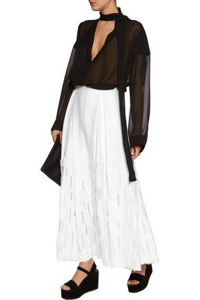 AMANDA WAKELEY Dial fringed tulle-trimmed twill skirt