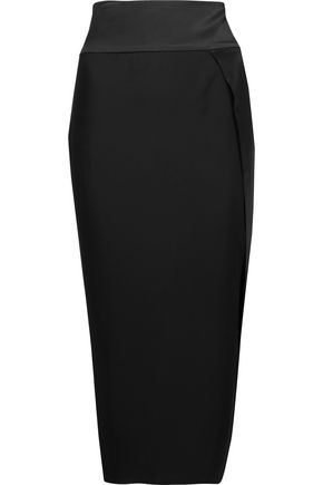 MICHELLE MASON Obi wrap-effect silk-crepe midi skirt