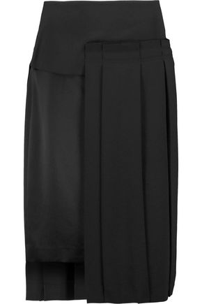 DKNY Asymmetric pleated crepe de chine skirt