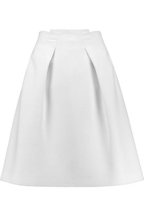ROLAND MOURET Kava pleated wool-piqué mini skirt