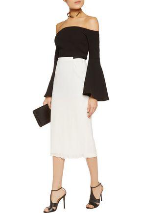 ROLAND MOURET Exton plissé-chiffon and crepe midi skirt