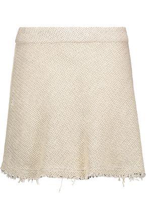 IRO Stoney frayed woven cotton-blend mini skirt