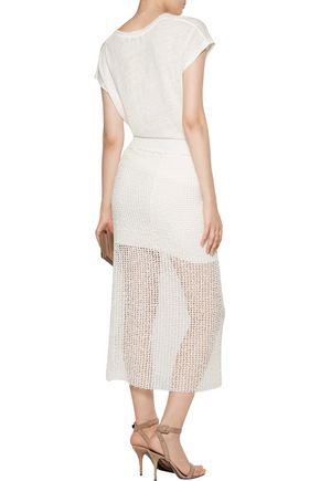 IRO Denise open-knit cotton-blend midi skirt