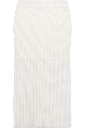 IRO Denise open-knit cotton-blend midi skirt