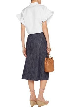 TANYA TAYLOR Ines embroidered denim midi skirt