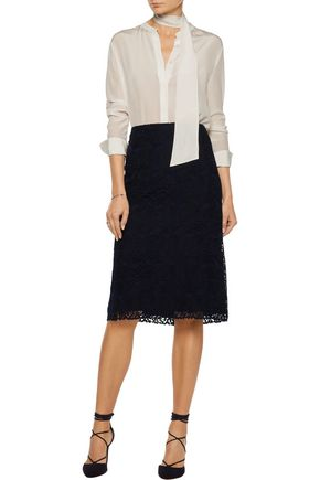NINA RICCI Cotton-blend guipure lace skirt