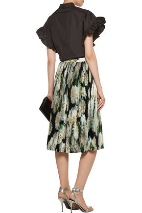 ADAM LIPPES Pleated printed satin skirt
