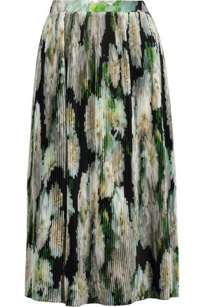 ADAM LIPPES Pleated printed satin skirt