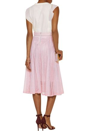 MAJE Metallic pleated cotton-mesh midi skirt
