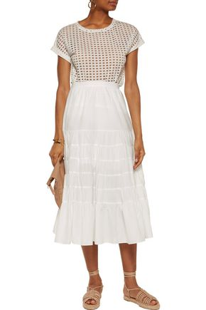 MAJE Gathered cotton midi skirt