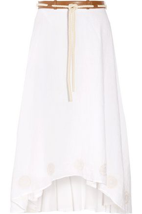 IRIS & INK Fern pleated embroidered georgette maxi skirt