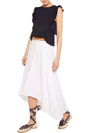 IRIS AND INK Sandy belted crepe pencil skirt