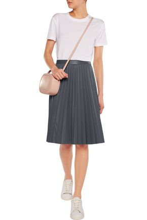 IRIS AND INK Pleated perforated leather skirt