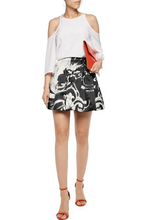 ALICE + OLIVIA Pleated satin mini skirt