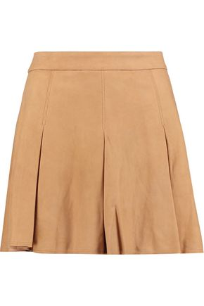 ALICE + OLIVIA Lee pleated suede mini skirt