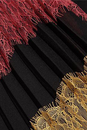 ALICE + OLIVIA Romona pleated lace-paneled georgette maxi skirt