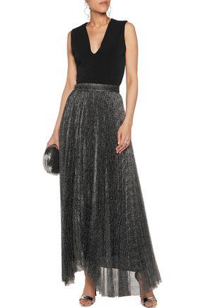ALICE + OLIVIA Katz pleated metallic mesh maxi skirt