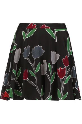ALICE + OLIVIA Blaize floral-print silk mini skirt