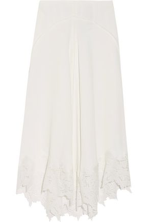 MAJE Jina guipure lace-trimmed crepe midi skirt