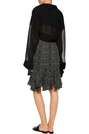 L'AGENCE Bella ruffled printed silk-chiffon skirt