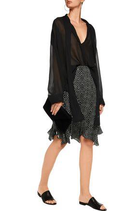 L'AGENCE Bella ruffled printed silk-chiffon skirt