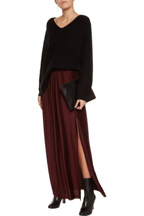 DION LEE Spiral plissé-satin maxi skirt