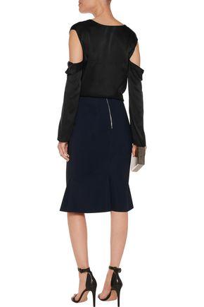 DION LEE Fluted Swarovski crystal-embellished scuba skirt