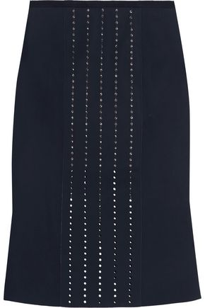 DION LEE Fluted Swarovski crystal-embellished scuba skirt