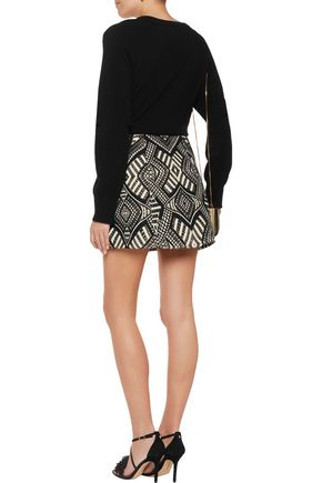 ALICE + OLIVIA Loran metallic jacquard mini skirt