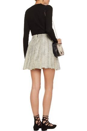 ALICE + OLIVIA Dara pleated snake-effect leather mini skirt