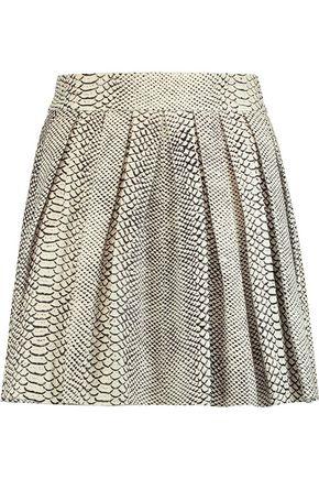 ALICE+OLIVIA Dara pleated snake-effect leather mini skirt