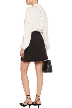 ALICE + OLIVIA Ericka wrap-effect twill mini skirt