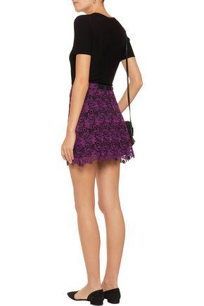 ALICE + OLIVIA Riley macramé lace mini skirt