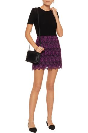 ALICE + OLIVIA Riley macramé lace mini skirt
